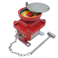 E0G emergency explosion proof pushbutton with guard red painted hazardous area atex