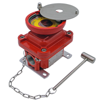 E0LG emergency explosion proof lighting pushbutton with guard red painted hazardous area atex