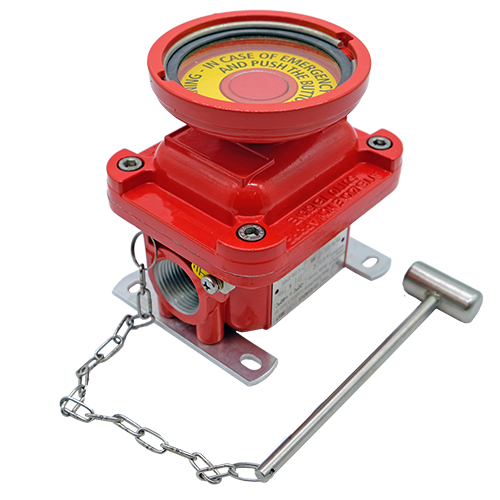 E1 emergency explosion proof pushbutton red painted hazardous area atex
