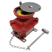 E1LG emergency explosion proof lighting pushbutton with guard red painted hazardous area atex